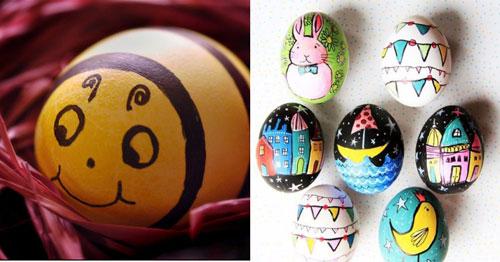 красим яйца на Пасху с помощью восковых мелков 2