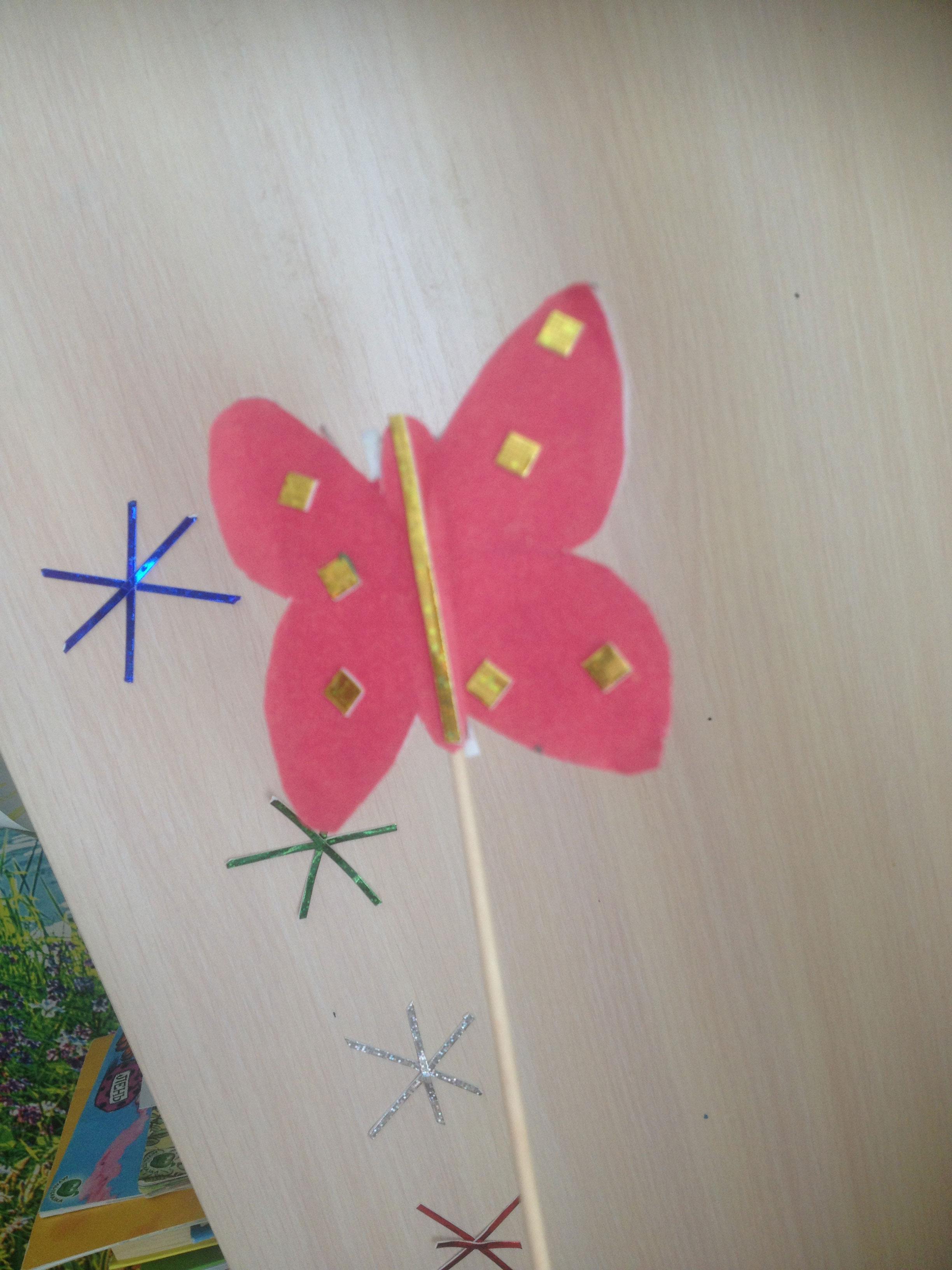 поделка бабочка для цветочного горшка из бумаги вместе с детьми