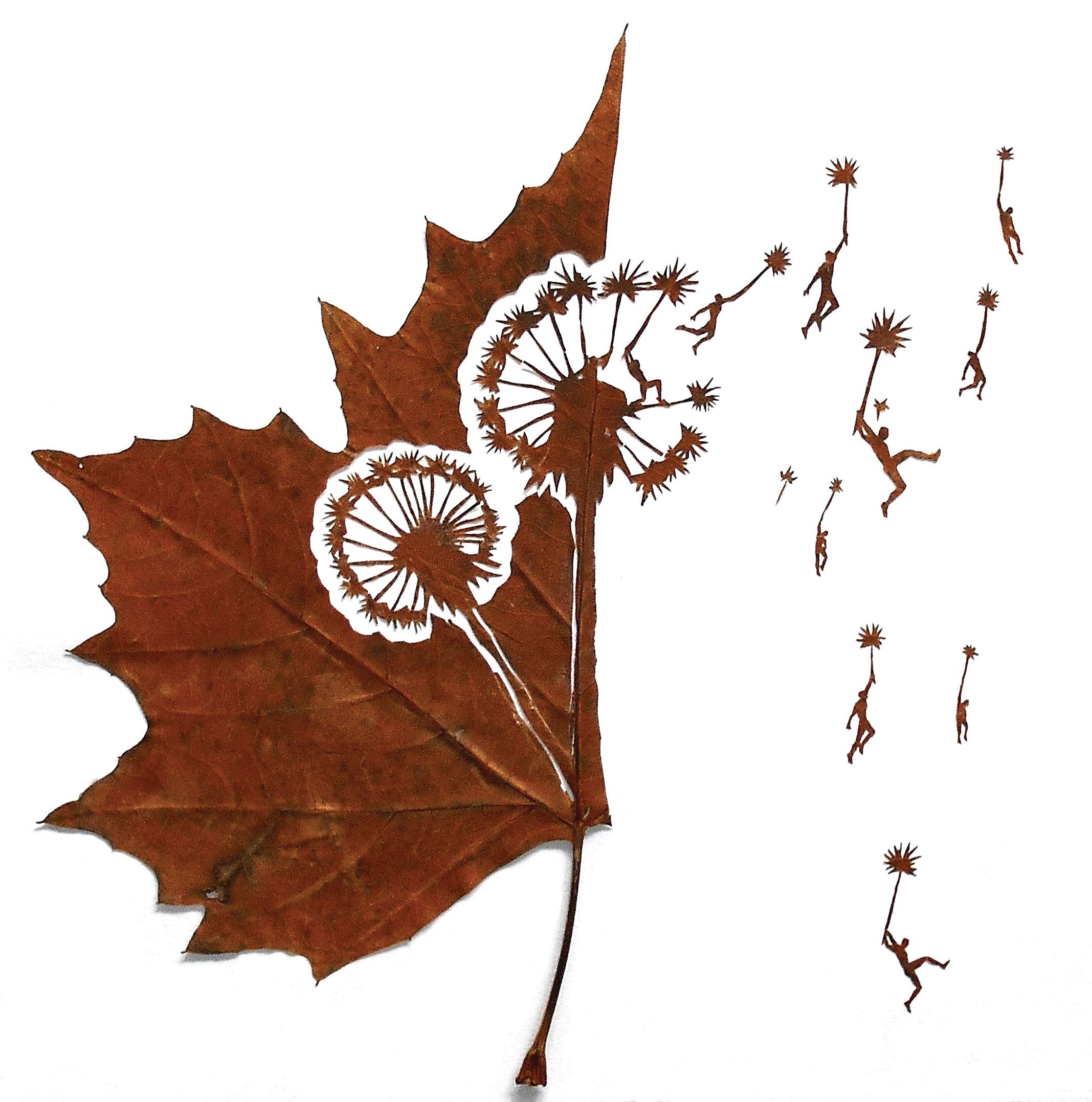 очень красивая поделка из листьев