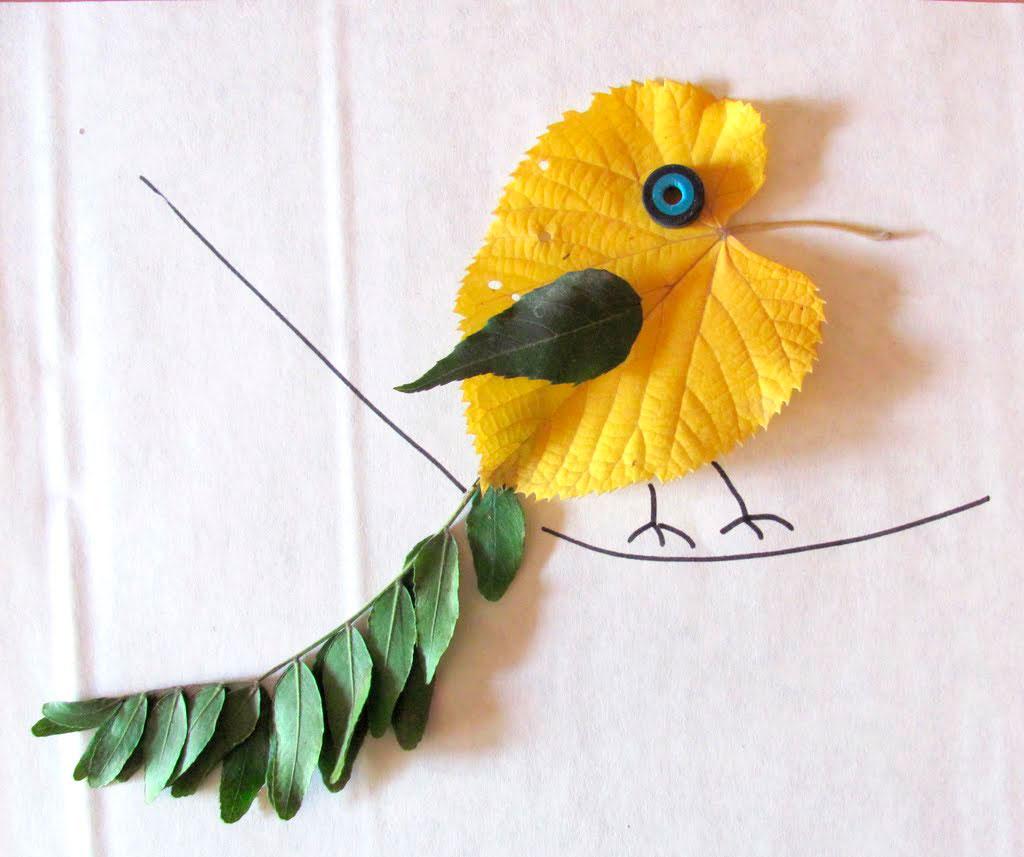 птица из осоенних листьев