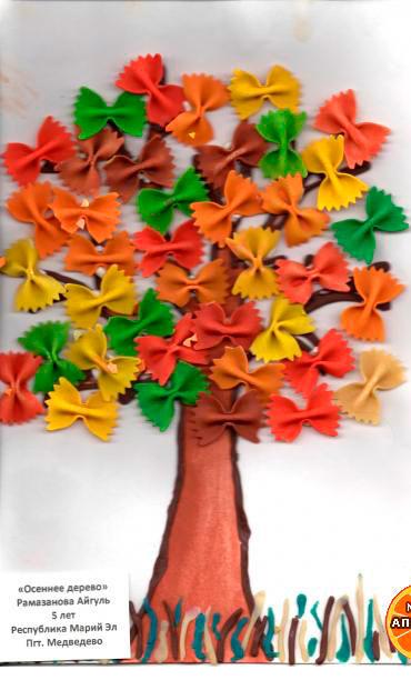 аппликация осеннее дерево из макарон