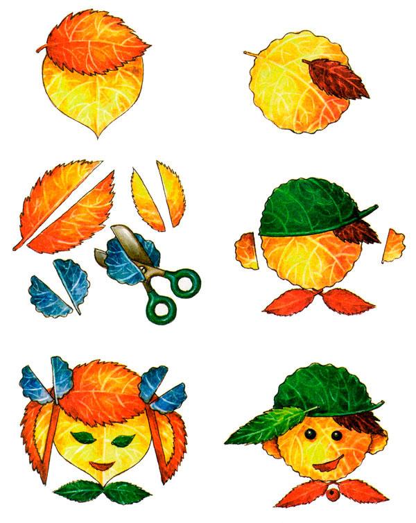 аппликация из листьев лица