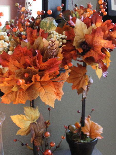 поделка топарий из листьев