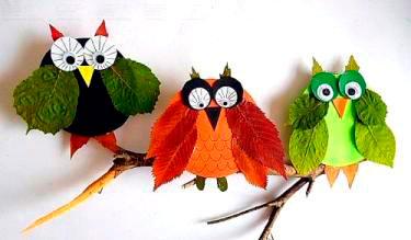 совы из листьев