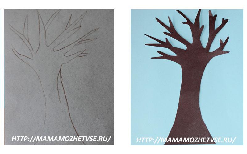 дерево из цветной бумаги