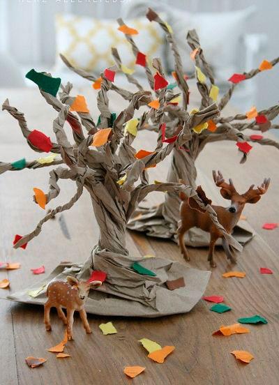 осенние деревья - поделки для детского сада