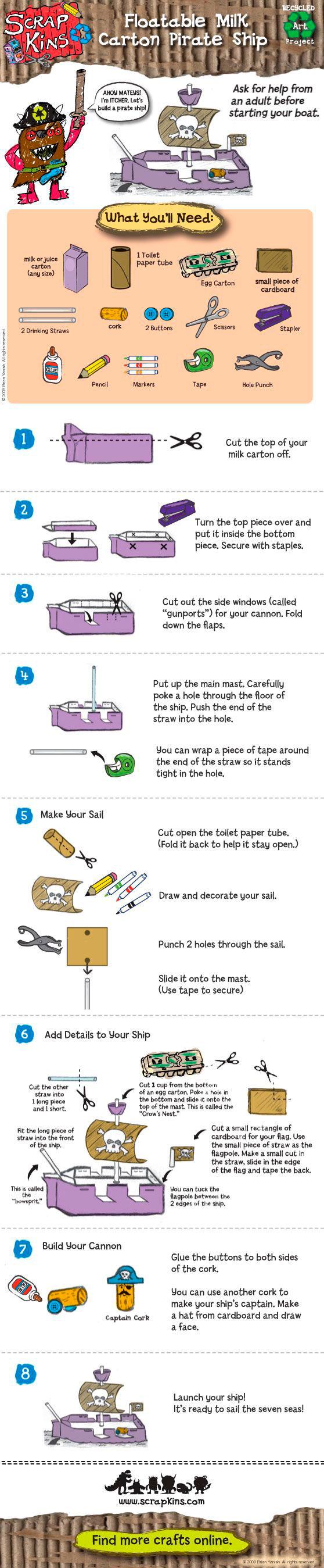как сделать корабль из упаковки от кефира