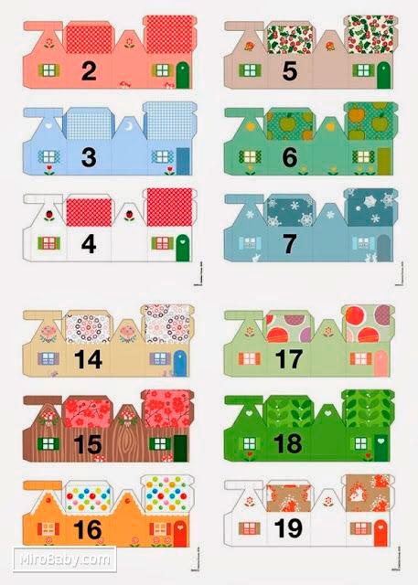 шаблоны для адвент календаря в виде домиков