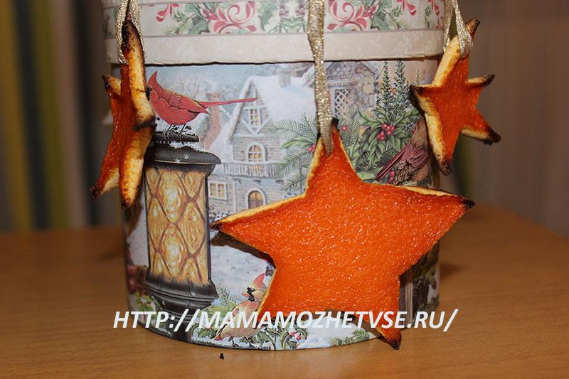 елочные украшения из апельсиновой цедры