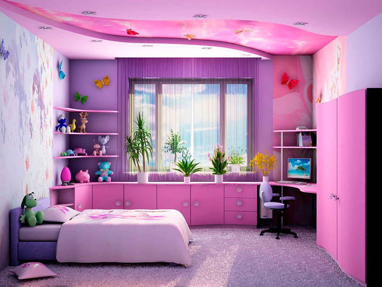 отделка детской комнаты фиолетовым цветом