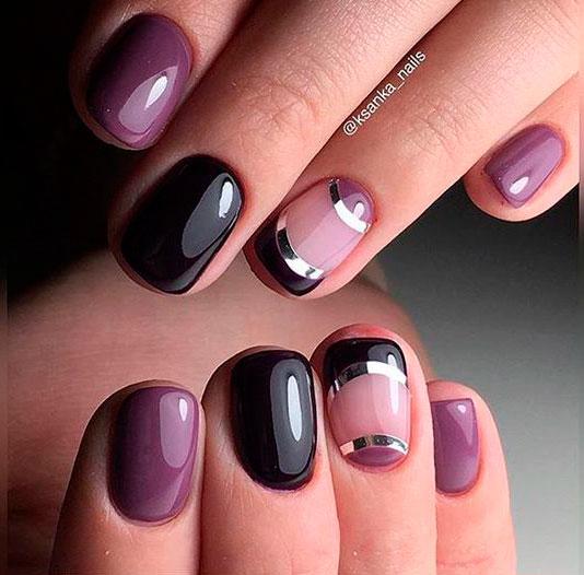 необычный дизайн коротких ногтей