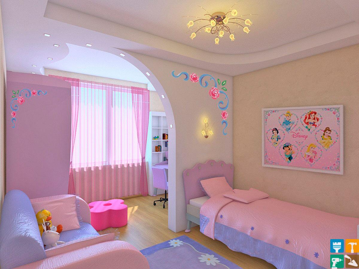 детская комната в фиолетовом и розовом цвете