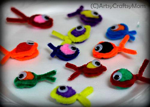 рыбки из пушистой проволоки