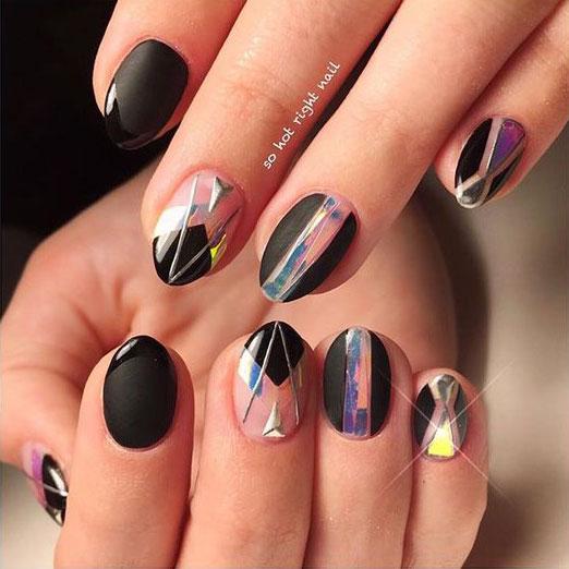 черные ногти с битым стеклом