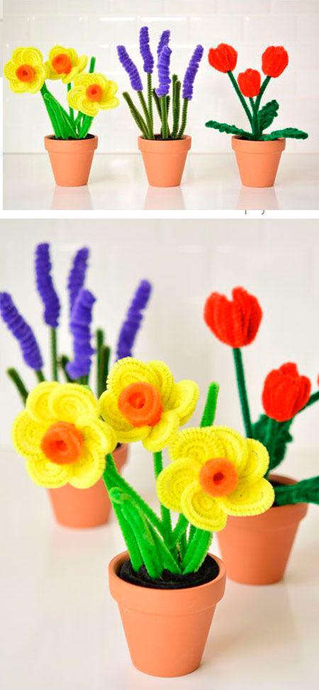 детская поделка цветы из пушистой проволоки