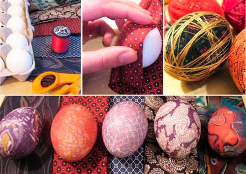 как оригинально покрасить яйца с помощью шелкового галстука