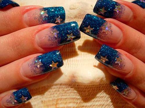 блестки звезды на ногтях