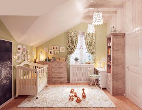 детская комната для малыша на мансарде
