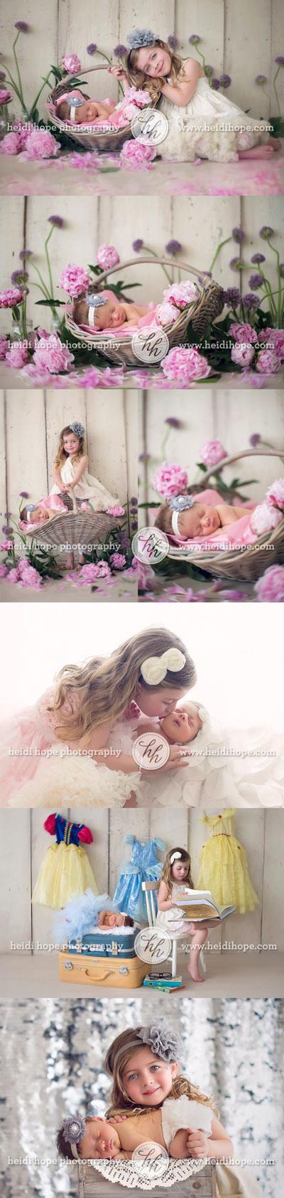 идеи для фотосессии новорожденных: малыш и сестра