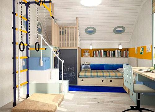 Детская мансардная комната в морском стиле