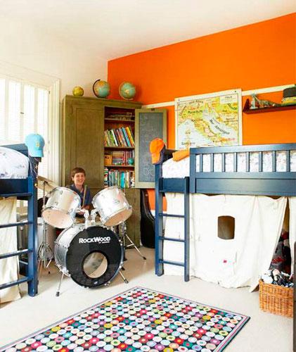 Оранжевый цвет в интерьере детской комнаты 3