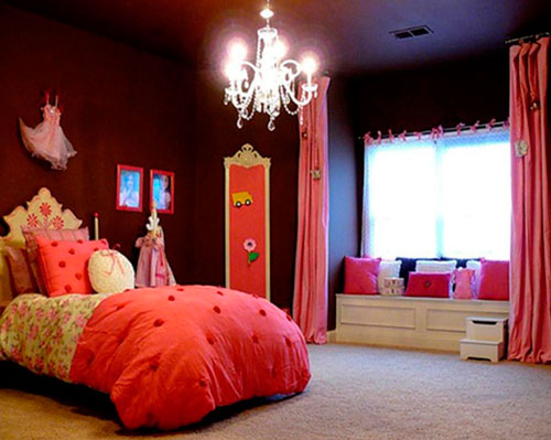 интерьер детской комнаты в оранжевом цвете 6