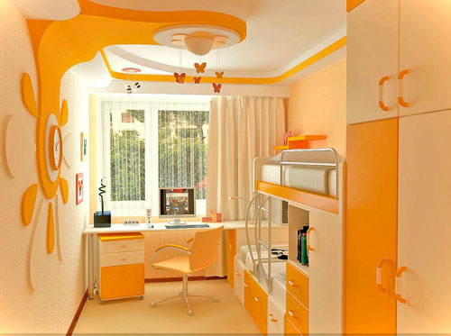 детская комната в оранжевом цвете 10