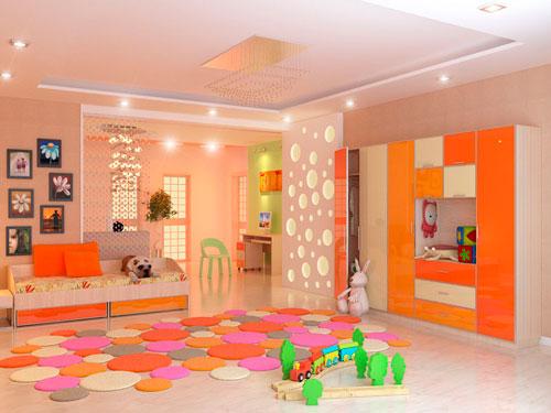 Оранжевый цвет в интерьере детской комнаты 2