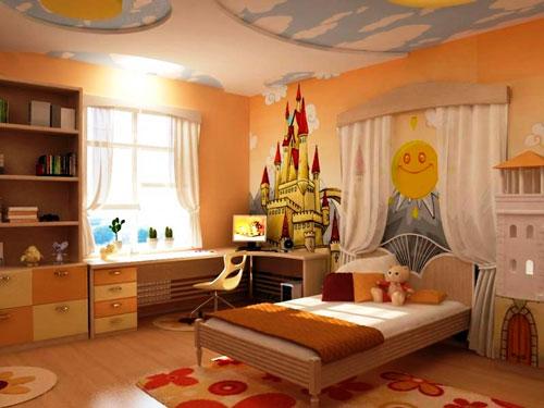 интерьер детской комнаты в оранжевом цвете 3