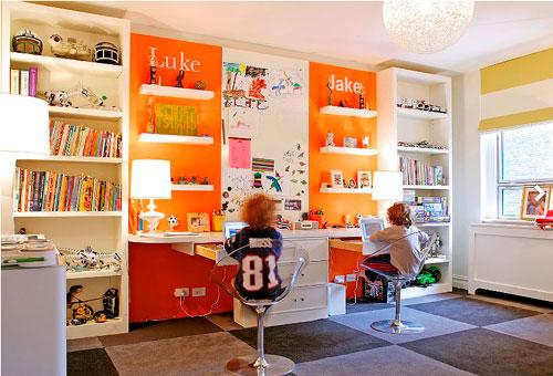 оранжевая детская комната 5