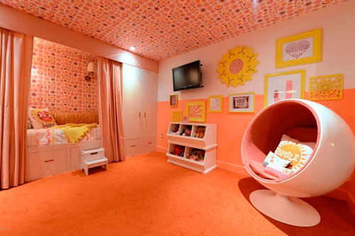 оранжевая детская комната 4
