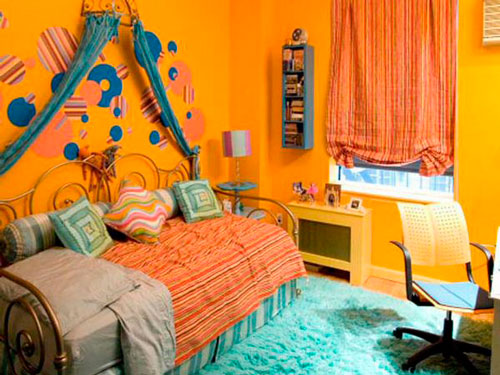 оранжевая детская комната 10