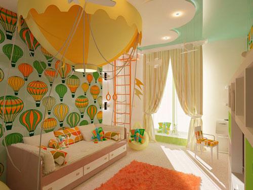 Оранжевый цвет в интерьере детской комнаты 5