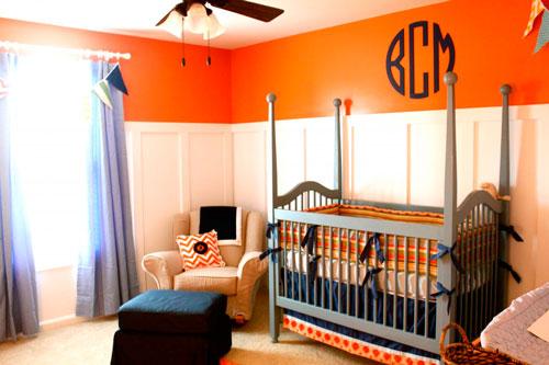 Оранжевый цвет в интерьере детской комнаты малыша 3