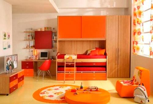 интерьер детской комнаты в оранжевом цвете 8