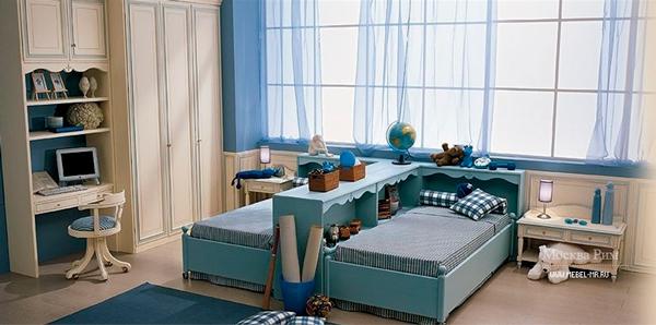 голубая детская комната для мальчиков