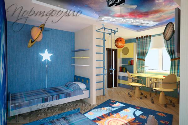 дизайн детской комнаты в стиле космос 2