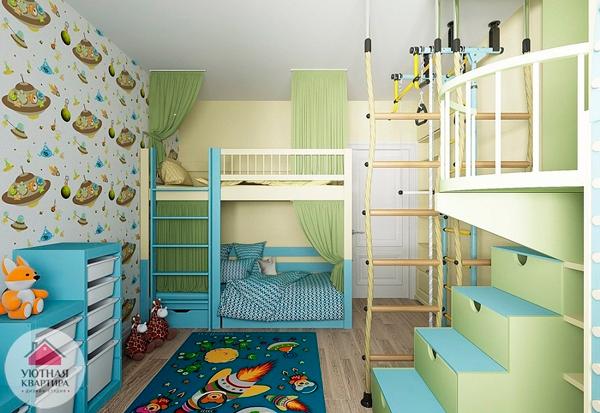 дизайн детской комнаты для двух мальчиков со шветской стенкой