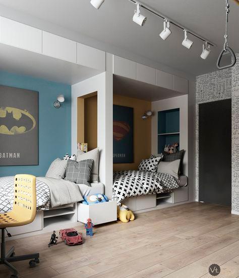 дизайн детской комнаты для мальчиков: супер герои