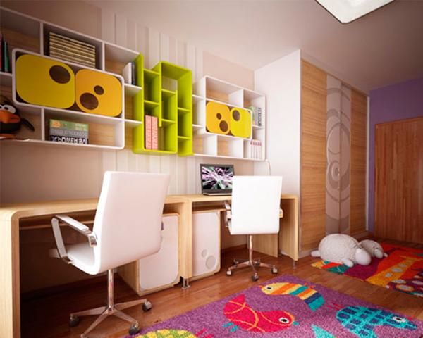 рабочая зона в комнате для двух детей