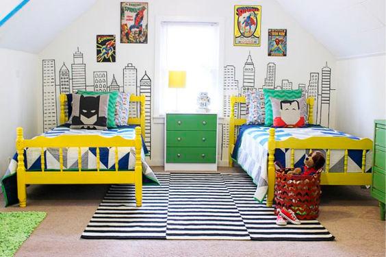 интересное решение для дизайна детской комнаты для двух мальчиков