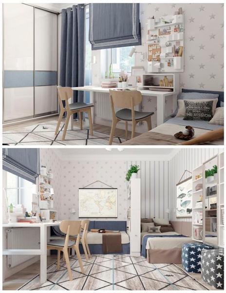 Дизайн детской комнаты для 2 мальчиков: два рабочих места