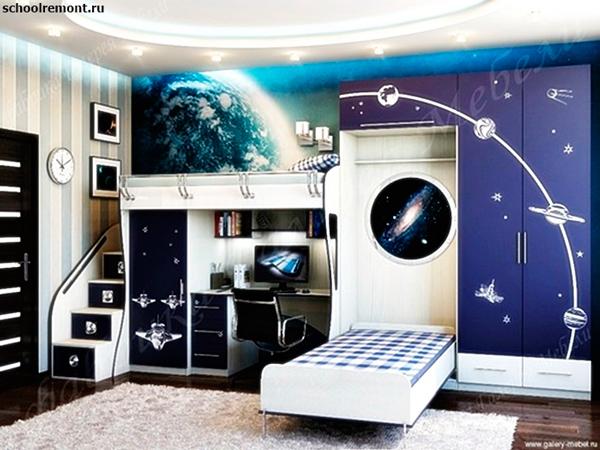 космический дизайн детской комнаты для двух мальчиков