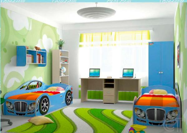 дизайн детской комнаты для двух мальчиков машинки