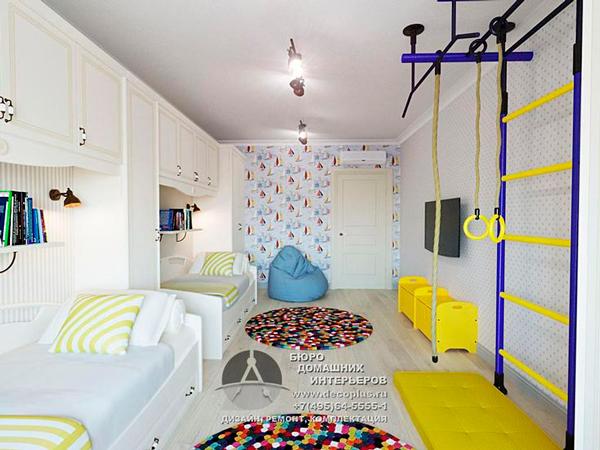 белая детская комната для двух мальчиков