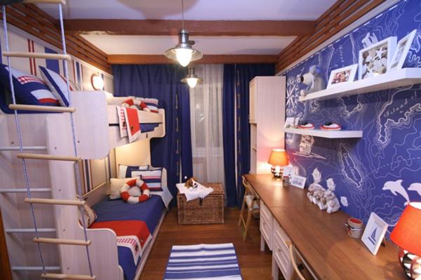 идея оформаления детской комнаты для мальчиков в морском стиле