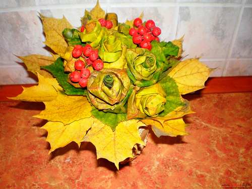 осенние букеты и композиции из листьев 5