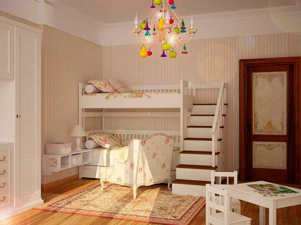 красивый интерьер в стиле прованс для двух детей 5