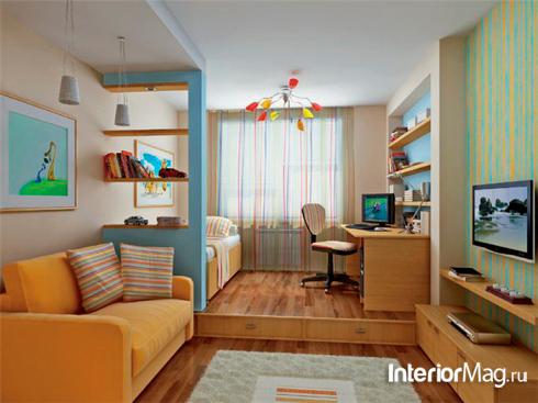 детская и гостинная в одной комнате: зонирование с помощью подиума