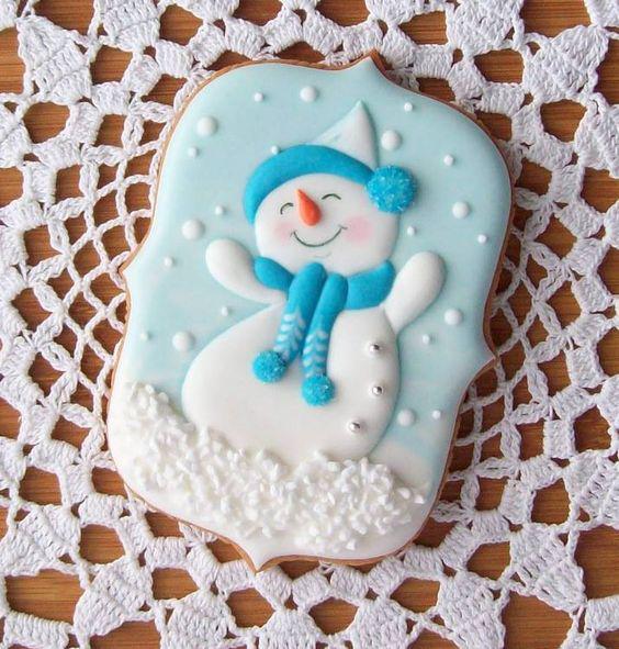 печенье с милым снеговиком фото